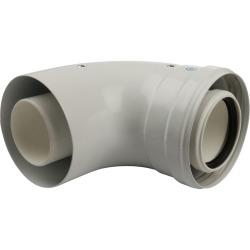 Элемент дымохода конденсац. STOUT угол 90° DN60/100 м/п с инспекционным окном PP-FE