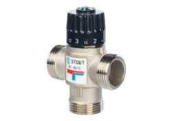 """Термостатический смесительный клапан STOUT 1"""" НР 20-43°C"""