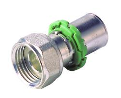 762EDX Штуцер с накидной гайкой и плоским кольцом латунь  20x2 - 3/4 Comap SKINPress