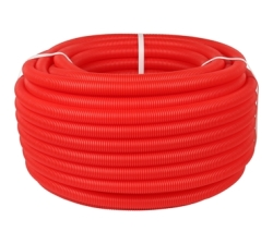 Труба гофрированная ПНД STOU,цвет красный, наружным диам. 20 мм для труб д. 14-18 мм